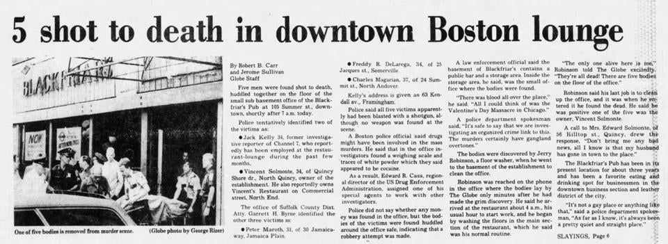 Coverage of the Blackfriars massacre from the June 28, 1978, issue of The Boston Evening Globe.
